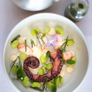 Salsify at The Roundhouse - Summer Minestrone, Octopus, Langoustine, Oyster & Sea Herbs - Francis Gersbach (LR) 1